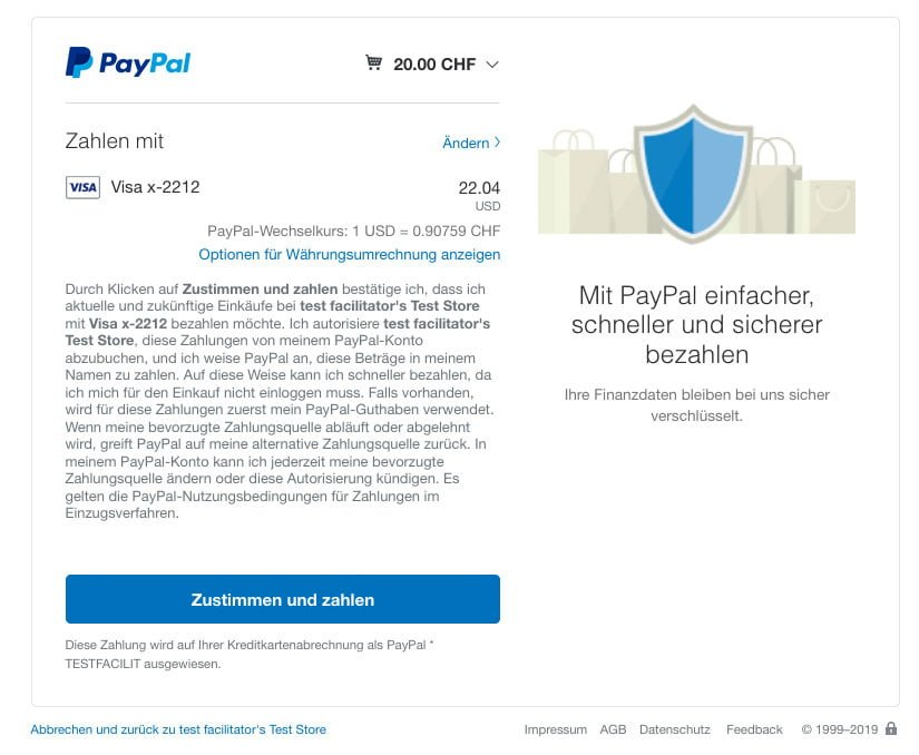 Checkout-Prozess in PayPal