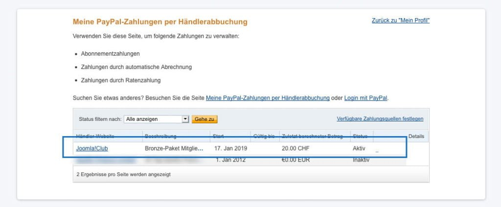 Abo in PayPal beenden