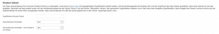 Easy Backup Dropbox Upload