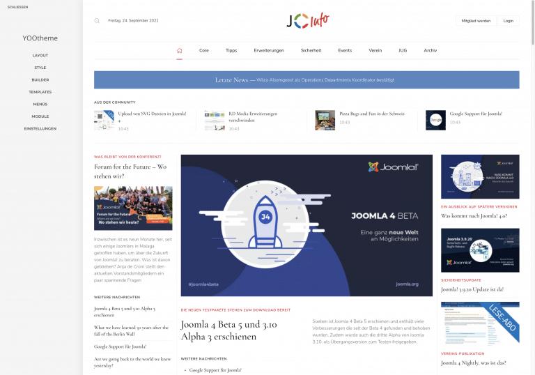 Joomlainfo Testseite mit YOOtheme Pro